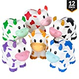 Bedwina Colorful Rubber Cows (Pack Of 12) Squeeze And Squirt Water From The Mouth, Variety Colors, For Children Party Favors, Pool And Bathtub Toy