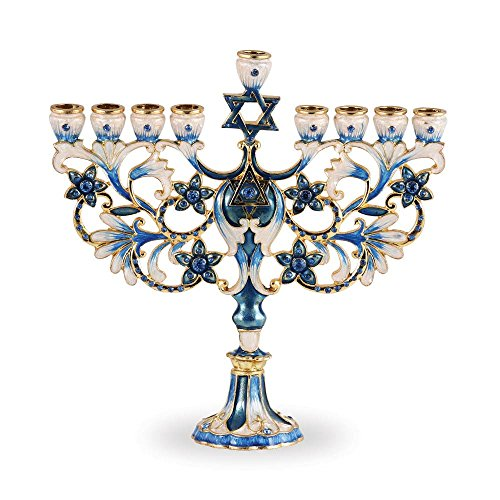 Zion Judaica Menorah Jeweled and Gold Plated Tree Fleur De Lis (Blue)