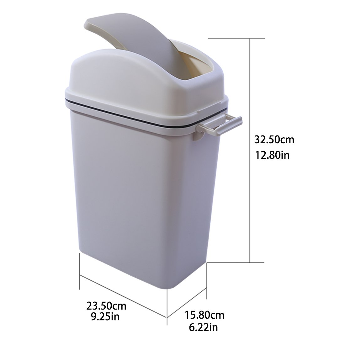 Grey Plastic 6 Liter//2 Gallon Waste Can YIFAN Swing-Top Trash Can