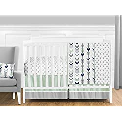 Grey, Navy Blue and Mint Woodland Arrow 11 Piece Unisex Crib Bed Bedding Set Without Bumper