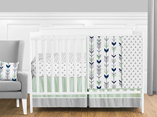 Sweet Jojo Designs 11-Piece Grey, Navy Blue and Mint Woodland Arrow Baby Boy or Girl Crib Bed Bedding Set Without Bumper (Mint And Grey Diaper Bag)
