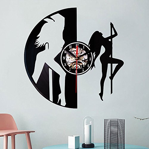 Hongxin Hot Sale Retro Wall Clock Black Classic Old Record Concept Wall Clock Antique Retro CD Vinyl Clocks Quartz Mechanism Horloge Murale Modern Home Record Vintage Cat Wolf Decor (D(dance girl))