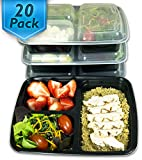 Image of [20 Pack] 3 Compartment Meal Prep Containers BPA Free Portion Control Bento Boxes (39 Oz.)
