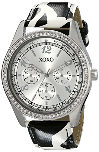 XOXO Women's XO3170 Silver Dial Black and White Giraffe Strap - Leather Watch Animal Black Silver