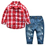 Kids Clothes Sets, Long Sleeve Button Down Plaid Shirt + Jean Denim Pants Clothing Outfits for Toddler & Little Boys, Red, Tag 110 = US 3-4Y/Height 43.3''