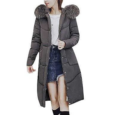 MCYs Damen Winter Baumwollkleidung Pelzkragen Outwear Reißverschluss  Winterjack Trenchcoat mit Pelz Halsband 2e4eed3cf1
