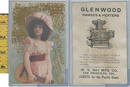 Victorian Card, 1890's, Glenwood Ranges, Ray, San Francisco, Girl Pink Dress - Glenwood Range