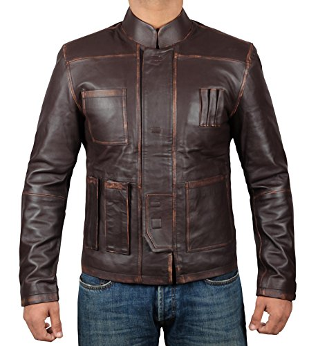 Brown Leather Jacket Men - Han Solo Distressed Genuine Lambskin Mens Leather Jacket | M