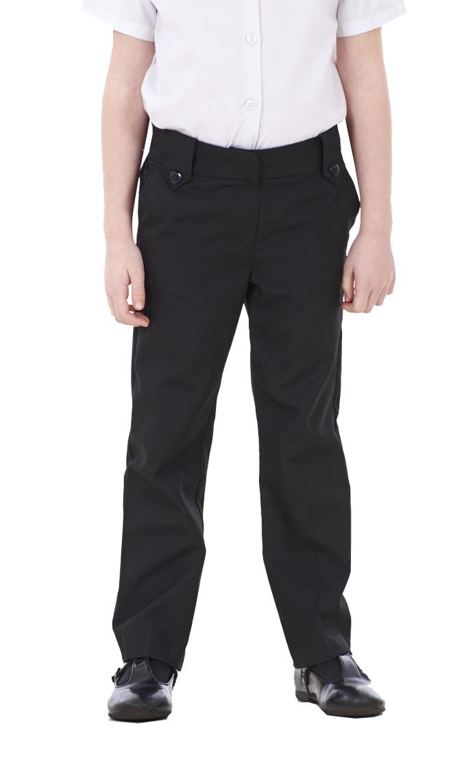 Girls BHS 2 PACK Black Charcoal Adjustable Waist School Trousers