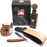 Men's Wood Shaving set-Comes with Gift Box, Wood Bowl, Wood Straight Razor and Wood Badger Brush with Strop