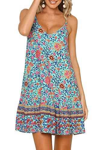 (Womens Floral Spaghetti Strap Short Dresses Summer Boho V Neck Mini Beachwear Sundress Green S)