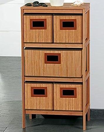 Bambus Badkommode Badregal Mit 5 Boxen Amazon De Kuche Haushalt
