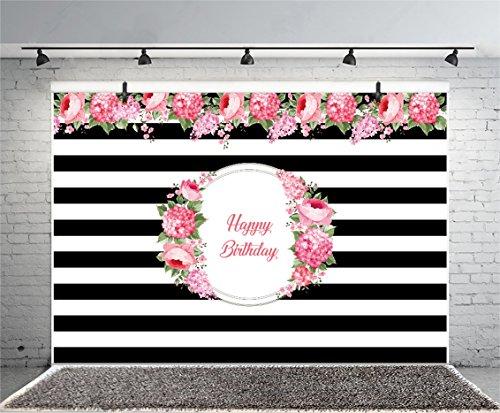 Leowefowa 7X5FT Happy Birthday Backdrop Girl's 1st Birthday Backdrops for Photography Black and White Stripes Wallpaper Vinyl Photo Background Baby Princess Studio Props