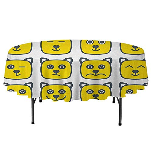 Emoji Washable Round Tablecloth Cat Dog Like Animal Smiley Face with Expressions Angry Happy Sad Fancy Moods Art Dinner Picnic Home Decor D40 Inch Yellow and Grey