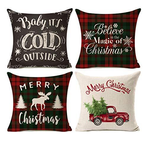 Kithomer Set of 4 Christmas Decorations Pillow Covers Christmas Buffalo Plaid Farmhouse Decor Throw Pillow Cases Cushion Cover 18 x 18 Inch
