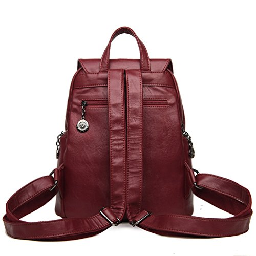 Pu Medium Red Xinwcang Bag Leather Backpack Women Daypack Soft Shoulder Daily Casual Rucksack Ladies Travel Wine CwatqSaUnA