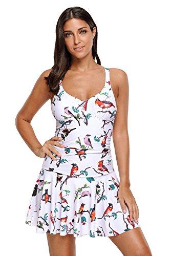 Ruched Open Back Dress (Aleumdr Womens Animal Print V Neck Open Back Ruched Padded Swimdress Sexy Tankini Swim Dress Top Swimwear Plus 3XL Size Multicoloured)