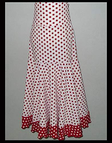 Girl/Children Handmade Polka dots red white Flamenco Dance long Skirt Foldable High Waist, Adjustable length, ballroom, latin, Waltz, age 4-10 YO by Ale Flamenco -