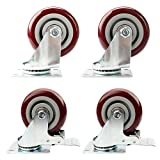 4'' PU Heavy Duty Swivel Caster Wheels Lockable Ball Bearing 220lbs each (pake of 4) (4'')