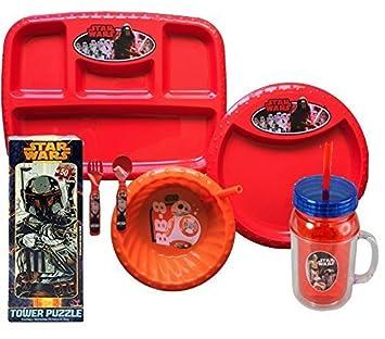 Exclusivo Star Wars niños juego de pajita – Set. Incluye un bandeja, plato,