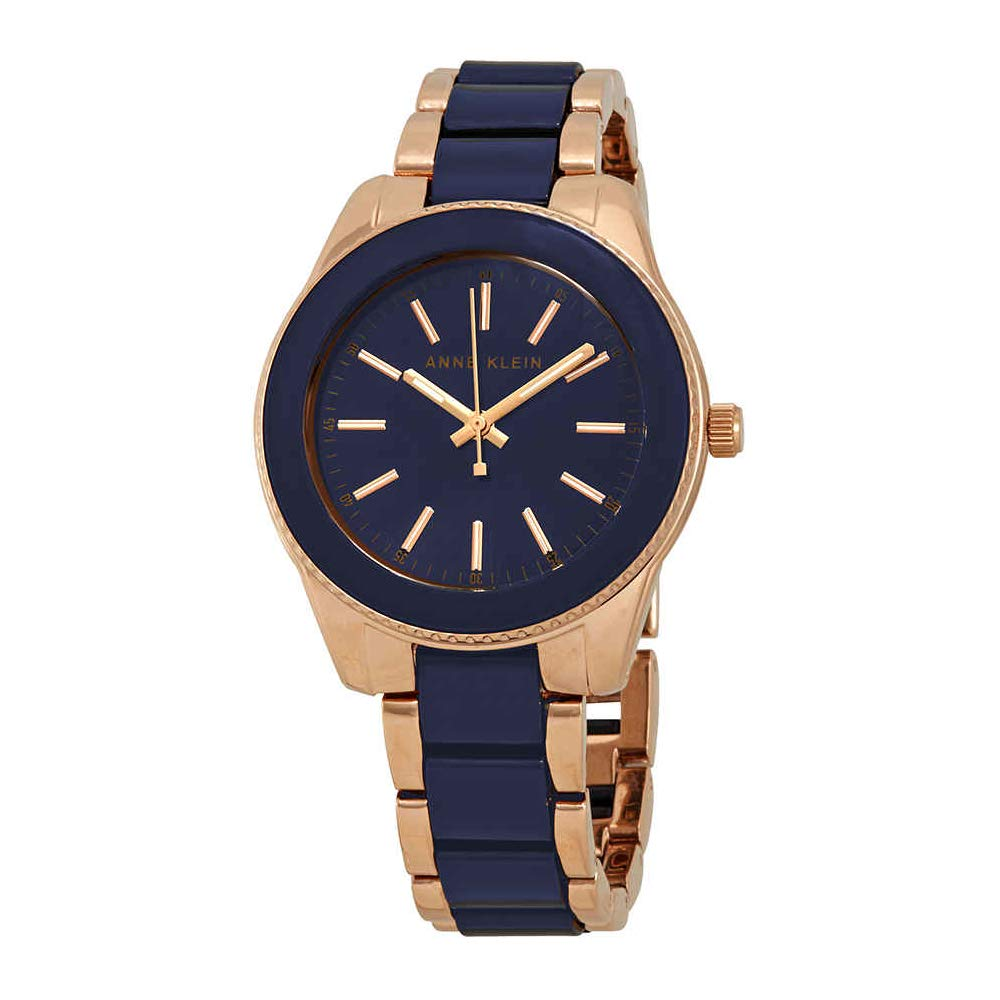 Anne Klein Women's  Rose Gold-Tone and Navy Blue Resin Bracelet Watch by Anne Klein
