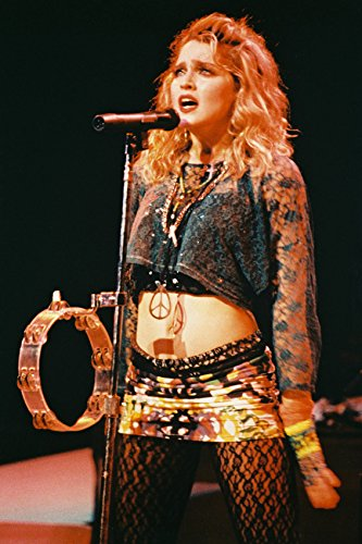 Madonna Like A Virgin in concert pose with tambourine & cross 18x24 Poster ()