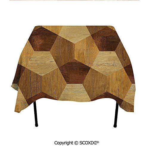 SCOXIXI Bar Tablecloth Washable Polyester Fabric,Abstract Parquet Flooring Wooden Rustic with Geometric Monochrome Pattern,W55XL55 Inches
