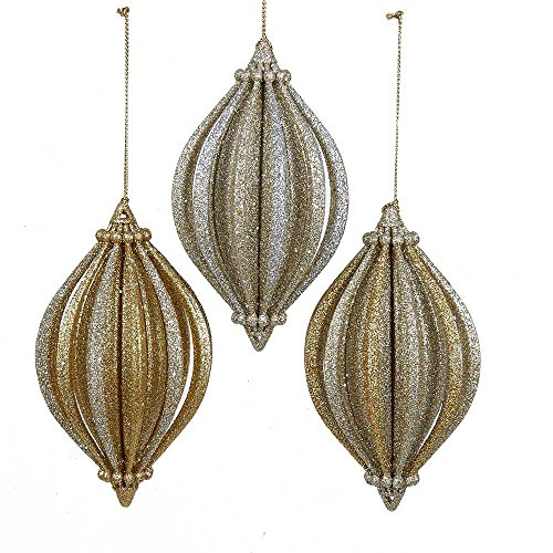 Kurt Adler YAMT1659 Gold Finial Ornament Set of 3