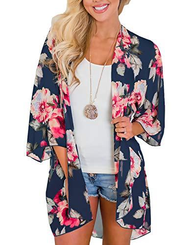 Women's 3/4 Sleeve Floral Kimono Cardigan, Sheer Loose Shawl Capes, Chiffon Beach Cover-Up, Casual Blouse Tops (C51-Navy, Medium) ()