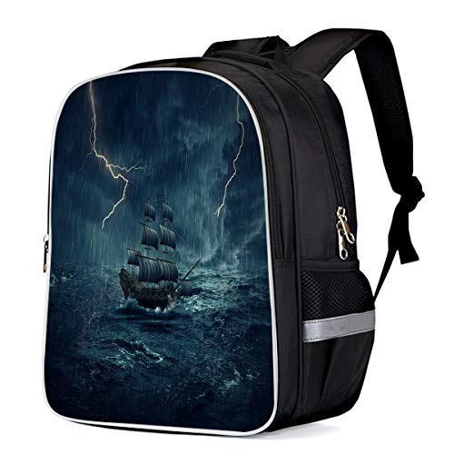(Unisex Durable School Backpack- Sailboat Sailing in the Roaring Waves Thunderstorm, Lightweight Oxford Fabric School Bags with Reflective Strip Daypack Laptop Bags)