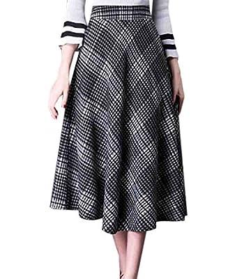 WSPLYSPJY Women's High Waist Woolen Swing Skirt Thicken Winter Warm Plaid Long Skirts