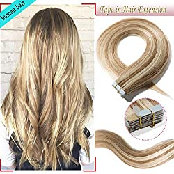 S-noilite 20Pcs 60g Remy Tape in Hair Extensions Human Hair Seamless Skin Weft Invisible Double Sided Glue in hair for women Silky Straight 22 Inch #12/613 Golden Brown&Bleach Blonde Color