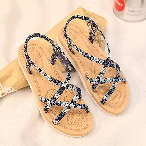 LANDFOX Las mujeres de moda de verano Flip Flops Playa sandalias bandas de cuerda plana zapatos Azul
