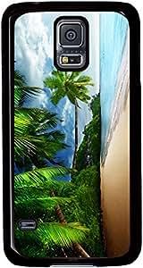 Tropical-Landscape-Palm-Trees-Sunshine-Beach-Coast-Sea-Sky-Blue Cases for Samsung Galaxy S5 I9600 with Black sides