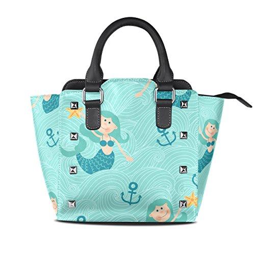 Handbags Tote Bags Leather Women's Shoulder TIZORAX Cute Anchor Mermaids BwqWAtR
