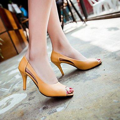 LvYuan Mujer-Tacón Stiletto-Zapatos del club-Sandalias-Oficina y Trabajo Vestido Fiesta y Noche-PU-Azul Amarillo Rosa Blue