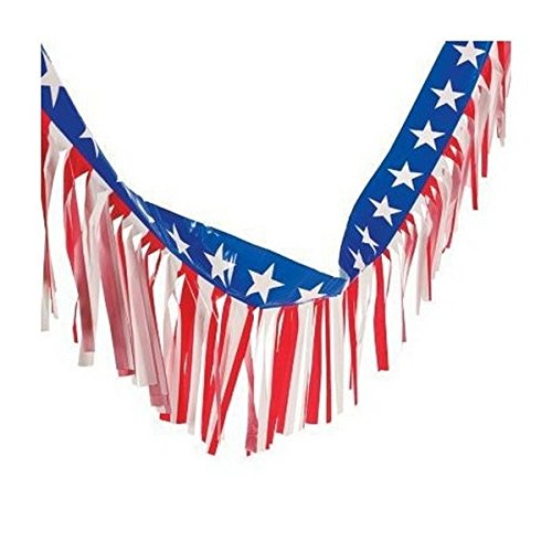- 100 Foot - Patriotic Fringe Banner Garland