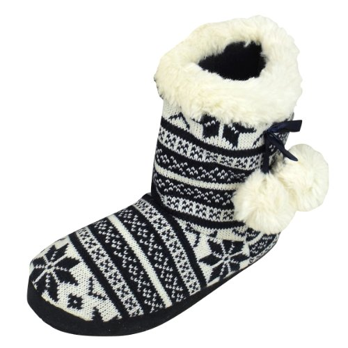 Womens Quality Furry Bootee Ankle Boot Slipper Ladies Eskimo Slippers Sizes 3-8 Navy Flakes / White Furr