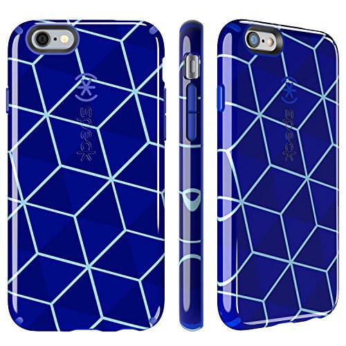 Speck Products CandyShell Inked Case for iPhone 6/6S - Retail Packaging- Stacked Cube Blue/Raincoat Blue