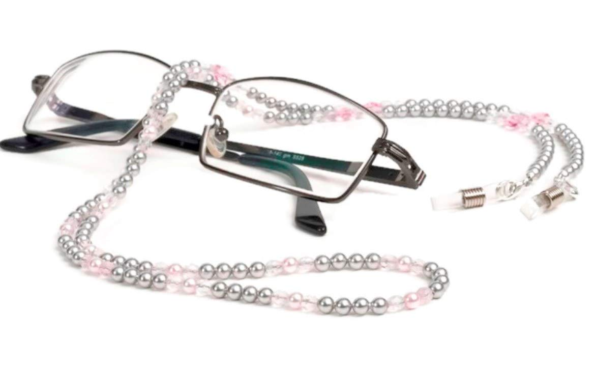 Luxury Eyeglass Chain Pink and Silver Pearl Swarovski Eyeglass Holder, Accessories for Glasses Women and Kids, Beaded Eyeglass Frame Chain, Neck Cord Strap - Gift Ideas