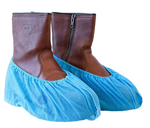 Blue Shoe Guys Premium Disposable Boot & Shoe Covers | Heavy Duty, Non-Slip, Recyclable, Indoor/Outdoor | 100-Pack (Extra Large - US Men's (Mens Shoe Cover)