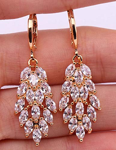 - 1 Pair 18K Yellow Gold Filled - 1.5 Noble Leaf Tiger Eyes Clear Topaz Zircon Earrings