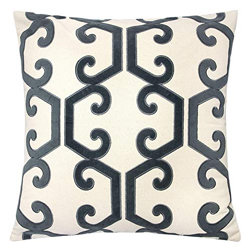 Homey Cozy Gray Throw Pillow Cover,Large Premium Applique Geometric Vine Cotton Burlap Sofa Couch Pillowcase Rustic Home Decor 20x20,Cover Only