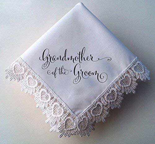 Grandmother of the Groom Wedding Handkerchief, Hearts Lace, Printed