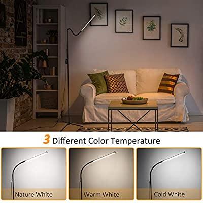 Vorally Floor Lamp for Living Room Bedroom Craft LED Floor Lamps Remote and Touch Control, Dimmable Reading Standing Lamp Adjustable Long Lifespan 1000 Lumen 3 Color Temperature 8W