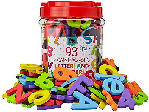 Magnetic Foam Letters and Numbers Premium Quality ABC, 93 Foam Alphabet Magnets | Educational Toy for Preschool Learning, Spelling, Counting in Canister