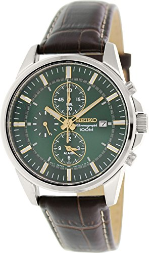 Seiko Chronograph Alarm Dark Green Dial Mens Watch SNAF09 (Seiko Mens Green)