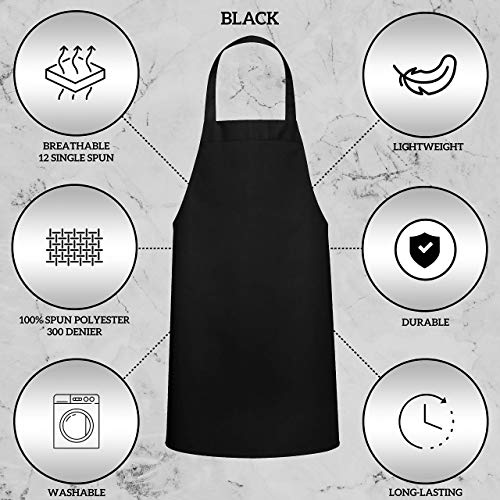 GREEN LIFESTYLE 12 Pack Bib Apron - Unisex Black Apron Bulk Machine Washable for Kitchen Crafting BBQ Drawing Outdoors… 4