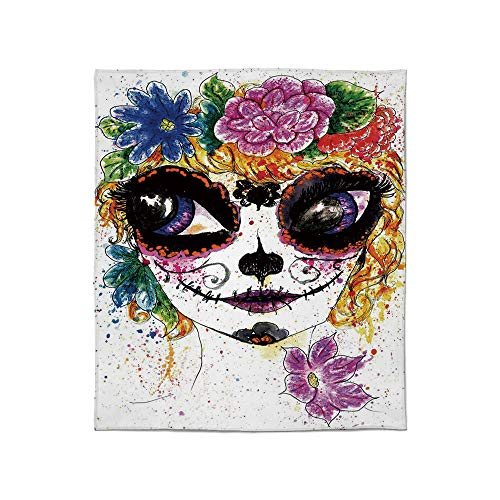 Comfort Blanket,Sugar Skull Decor,for Sofa Travel Couch,Size Throw/Twin/Queen/King,Cultural Celebration Mexican Traditional Make Up Girl ()
