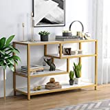 Tribesigns Gold Sofa Entry Table, 3-Tier TV Console Table with Faux Marble Top and Gold Metal Frame for Living Room Entryway